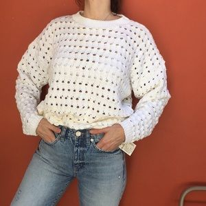 Super Oversized Chunky White Sweater Top